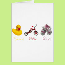 Baby Girl Swim Biek Run Card