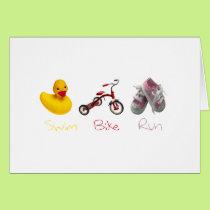 Baby Girl Swim Biek Run Card