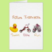 baby girl swim bike run card