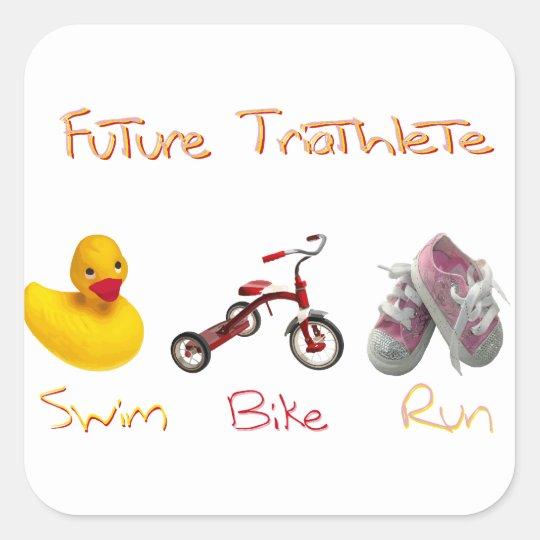 baby girl swim bike run square sticker