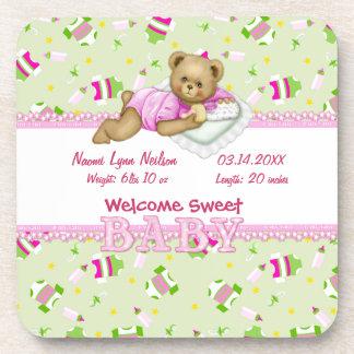 Baby Girl Teddy Bear Coaster