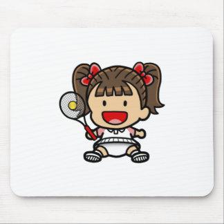 Baby Girl Tennis Player Mousepads