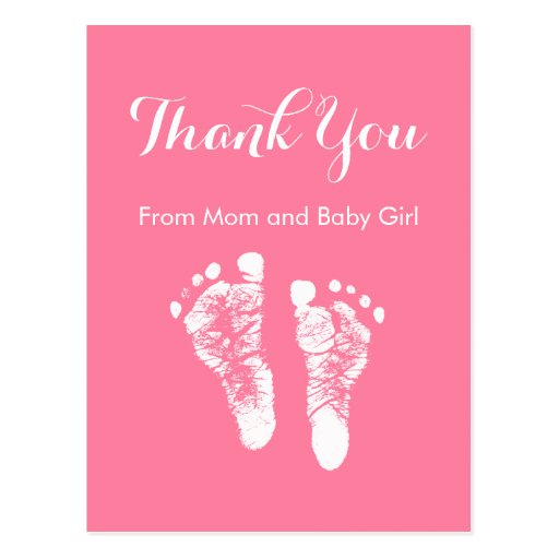 Baby Girl Thank You Cute Pink Newborn Footprints Post Card