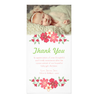 Baby Girl Thank You Flowers Photo Card Template