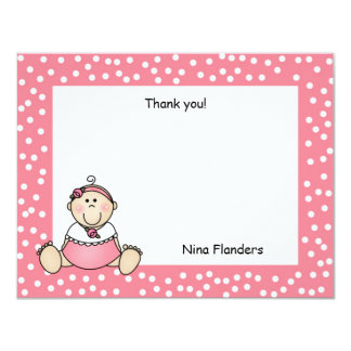 Baby Girl Thank You Note Pink Polka Dot Dress Personalized Invites