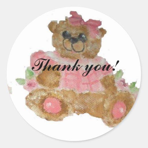 baby girl thank you sticker