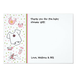 Baby Girl Things Shower Thank you note Card