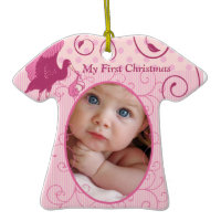 Baby Girl Tiny Tee Photo Ornament with Birth Stats ornament
