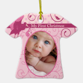 Baby Girl Tiny Tee Photo Ornament with Birth Stats