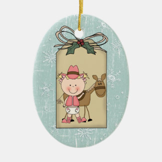 Baby Girl Toddler Child Cowgirl Pony Gift Tag Double-Sided Oval Ceramic Christmas Ornament