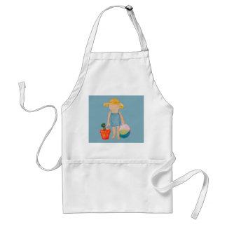 Baby Girl Toddler on Summer Beach Birthday Blue Adult Apron