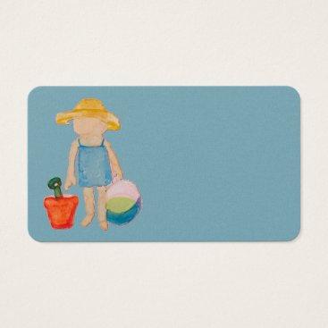 Beach Themed Baby Girl Toddler on Summer Beach Birthday Blue Business Card