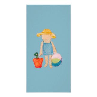 Baby Girl Toddler on Summer Beach Birthday Blue Card