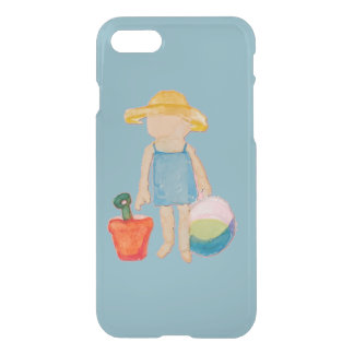 Baby Girl Toddler on Summer Beach Birthday Blue iPhone 7 Case