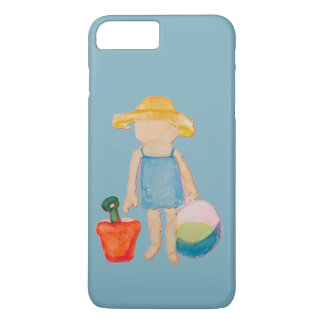 Baby Girl Toddler on Summer Beach Birthday Blue iPhone 7 Plus Case
