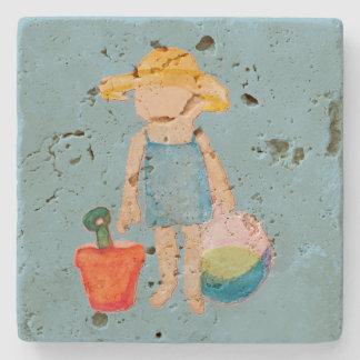 Baby Girl Toddler on Summer Beach Birthday Blue Stone Beverage Coaster