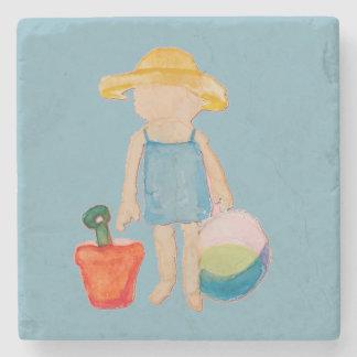 Baby Girl Toddler on Summer Beach Birthday Blue Stone Coaster