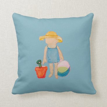 Beach Themed Baby Girl Toddler on Summer Beach Birthday Blue Throw Pillow
