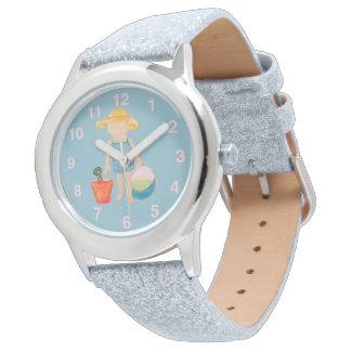 Baby Girl Toddler on Summer Beach Birthday Blue Wrist Watches