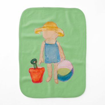 Beach Themed Baby Girl Toddler on Summer Beach Birthday Mint Burp Cloth