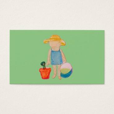 Beach Themed Baby Girl Toddler on Summer Beach Birthday Mint Business Card