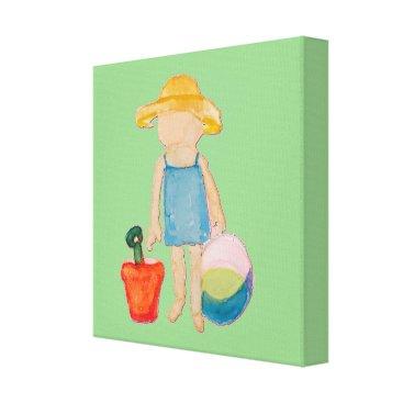 Beach Themed Baby Girl Toddler on Summer Beach Birthday Mint Canvas Print