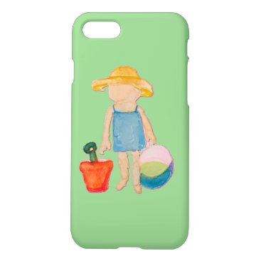 Beach Themed Baby Girl Toddler on Summer Beach Birthday Mint iPhone 7 Case