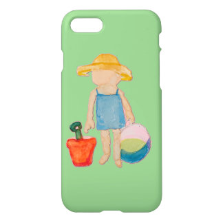 Baby Girl Toddler on Summer Beach Birthday Mint iPhone 7 Case