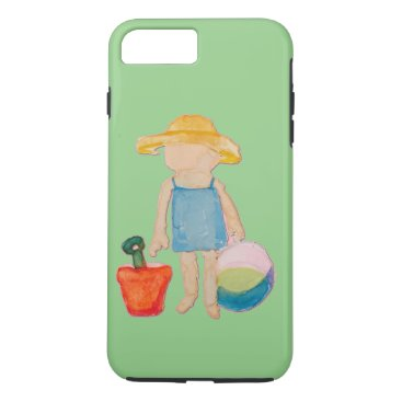 Beach Themed Baby Girl Toddler on Summer Beach Birthday Mint iPhone 7 Plus Case