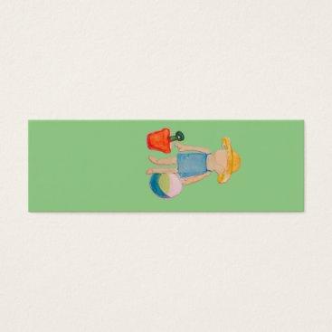 Beach Themed Baby Girl Toddler on Summer Beach Birthday Mint Mini Business Card