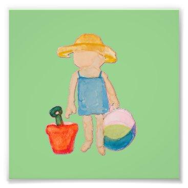 Beach Themed Baby Girl Toddler on Summer Beach Birthday Mint Photo Print