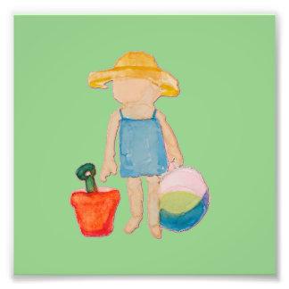 Baby Girl Toddler on Summer Beach Birthday Mint Photo Print