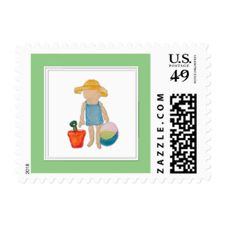 Baby Girl Toddler on Summer Beach Birthday Mint Postage