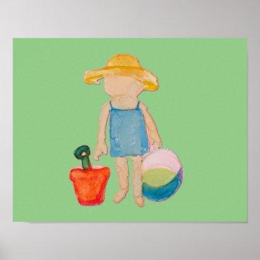 Beach Themed Baby Girl Toddler on Summer Beach Birthday Mint Poster