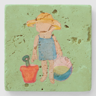 Baby Girl Toddler on Summer Beach Birthday Mint Stone Coaster