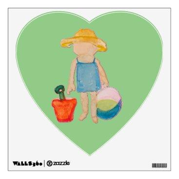 Beach Themed Baby Girl Toddler on Summer Beach Birthday Mint Wall Sticker