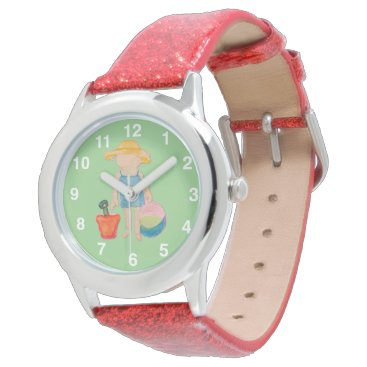Beach Themed Baby Girl Toddler on Summer Beach Birthday Mint Wrist Watch