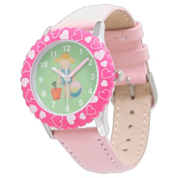 Beach Themed Baby Girl Toddler on Summer Beach Birthday Mint Wristwatch