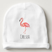 Baby Girl Tropical Watercolor Pink Flamingo Name Baby Beanie