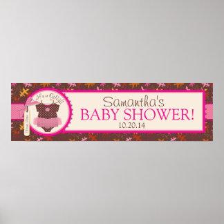 Baby Girl Tutu Autumn Leaves Baby Shower Banner Poster