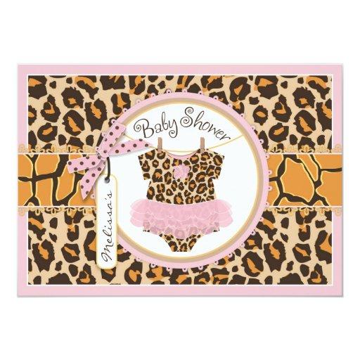 baby girl tutu cheetah print baby shower card zazzle