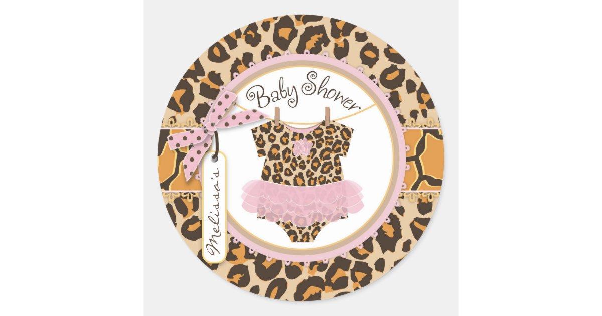 Baby Girl Tutu Cheetah Print Baby Shower Label Classic