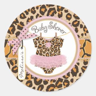 Baby Girl Tutu Cheetah Print Baby Shower Label Sticker