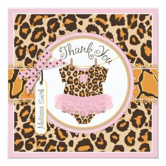 Baby Girl Tutu Cheetah Print Thank You Card