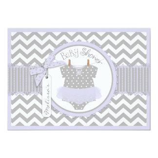 Baby Girl Tutu Chevron Print Baby Shower 5x7 Paper Invitation Card