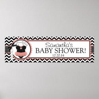 Baby Girl Tutu Chevron Print Baby Shower Banner