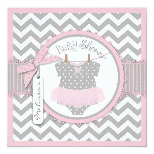baby girl tutu chevron print baby shower square paper