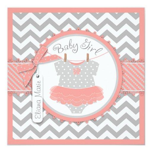 baby girl tutu chevron print baby shower invitation zazzle