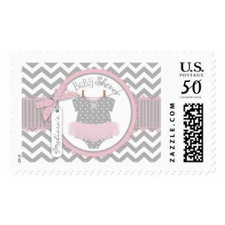 Baby Girl Tutu Chevron Print Baby Shower Stamp