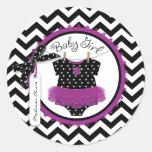 Baby Girl Tutu Chevron Print Baby Shower Round Stickers